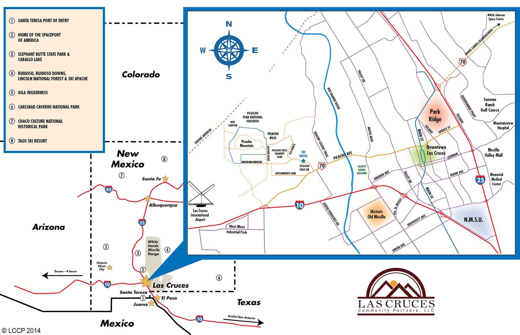 Location Map Las Cruces Downtown