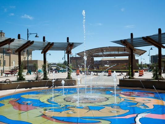 The splash pad at the north end of Plaza de Las Cruces gets a test run on Friday, Sept. 9, 2016. The official plaza opening is scheduled for Saturday, Sept. 17, 2016. (Photo: Anayssa Vasquez/Sun-News)