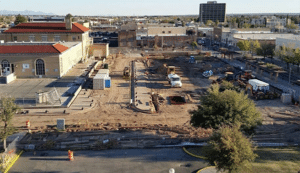 Progress photo of Civic Plaza developed, designed and constructed by LCCP