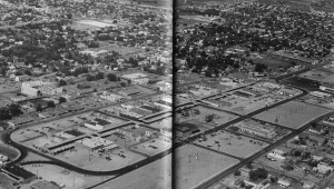 This photo from historian Jon Hunner shows Urban Renewal results on the day the Pedestrian Mall was completed. All vacant lots show that 70 percent of all downtown buildings were destroyed. Historic Post Office is in center of picture.