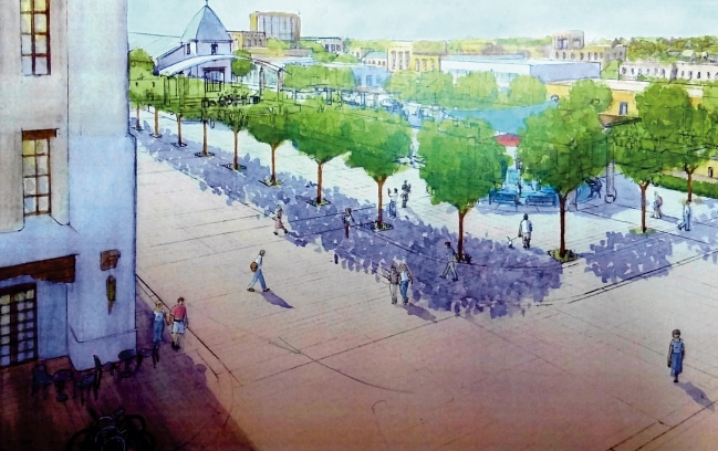A conceptual drawing depicts what a proposed civic plaza for downtown Las Cruces could look like after it's built. The view — which shows a perspective looking from near a Bank of the West parking lot to the southwest — includes two proposed streets that don't exist but would be built under a plan approved Monday by Las Cruces city councilors. (Graphic courtesy of PlaceMakers)